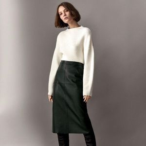 NEW LEATHER black midi skirt XS